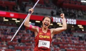 Liu Shiying celebrates after winning gold.