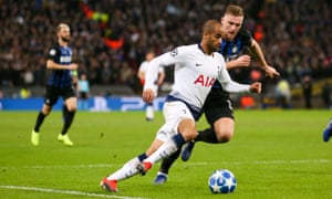 Lucas Moura on the ball, Spurs v Internazionale, Champions League