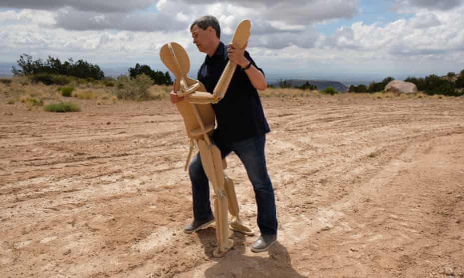David Pogue dances with a test dummy in New Mexico in Beyond the Elements.