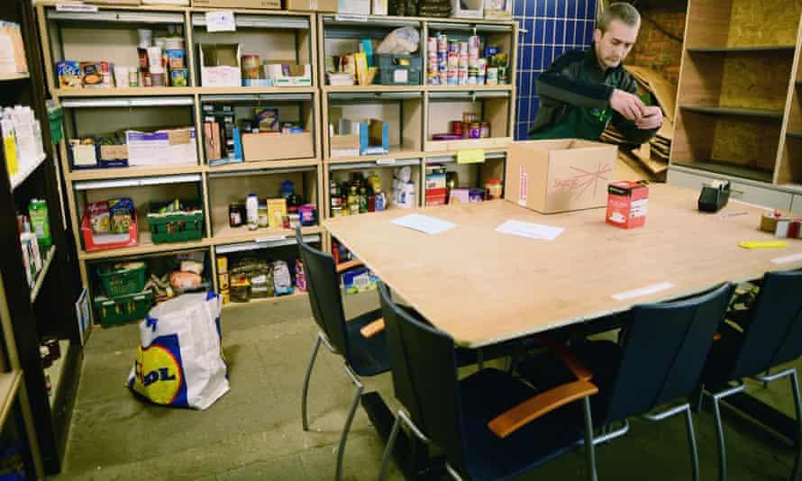 A volunteer at a food bank.