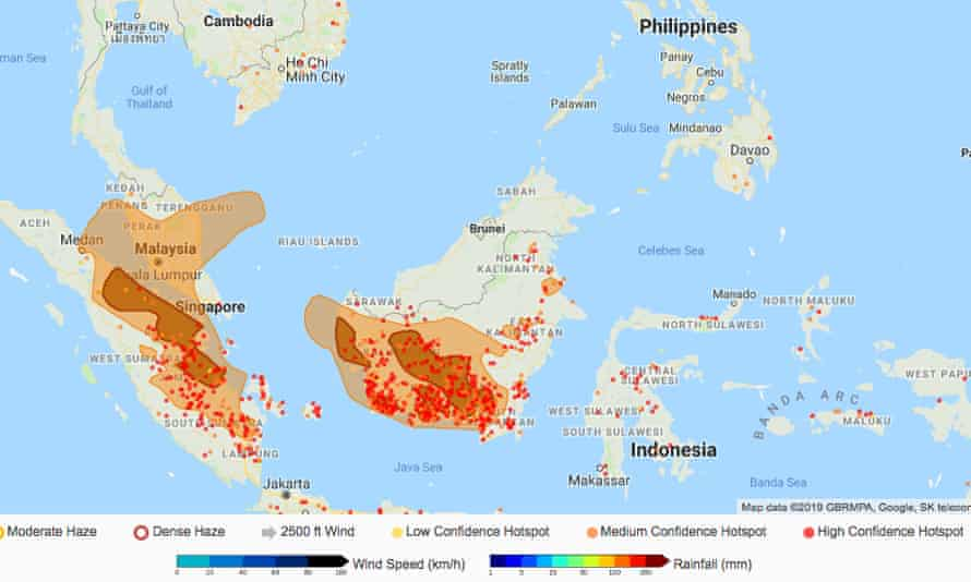 Map showing hotspot activities in Sumatra and Kalimantan which are likely to continue under the prevailing dry conditions. Smoke haze from the hotspots may affect parts of Peninsular Malaysia, Singapore and Sarawak according to the Asean Specialised Meterological Centre.