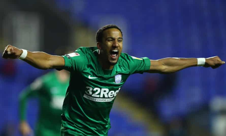 Scott Sinclair celebrates after scoring Preston's first goal in their comfortable win at Reading.