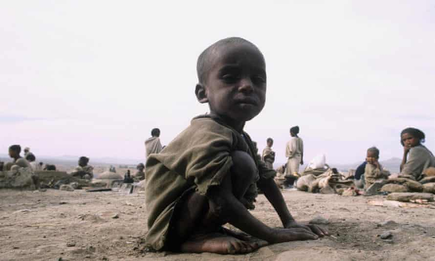 A starving child in Ethiopia, April 1985.