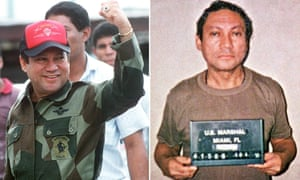 A defiant Noriega in Panama in October 1989, and in captivity in Miami in January 1990.