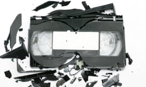 A smashed VHS tape