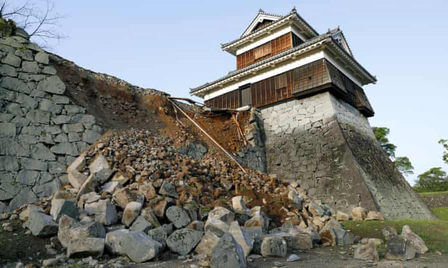 The stonewall of Kumamoto Castle is damaged by a magnitude-6.5 earthquake in Kumamoto city.