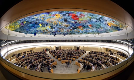 The UN human rights council on 13 March 2018 in Geneva, Switzerland.