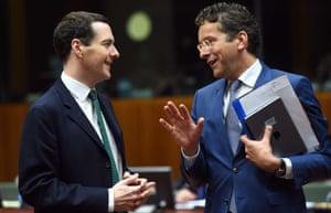 Brussels, Belgium Eurogroup President and Dutch Finance Minister Jeroen Dijsselbloem speaks with his British counterpart George Osborne on May 12, 2015 during an Economic and Financial Affairs Council meeting at the European Council