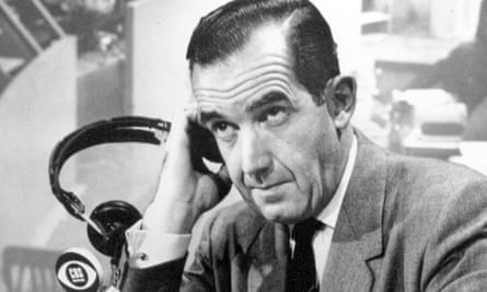 """MURROW<br>**FILE**This file photo orginally from CBS shows CBS News correspondent Edward R. Murrow broadcasting national election returns on CBS Television Network in New York on election night, November 7, 1956. In the new film """"Good Night, and Good Luck,"""" Murrow is portrayed as he publicly came out against Sen. Joe McCarthy, who was on an anti-communist crusade. What is in film is essentially accurate, experts say. They note that the movie leaves out such aspects as the mention of journalists who had already stood up to McCarthy to signs that the senator was already on his way down. (AP Photo/CBS )"""