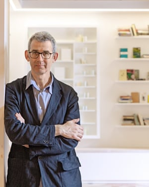 Edmund de Waal in his 'library of exile', a porcelain pavilion with books by writers forced to leave home. The work will shown at the British Museum next March.