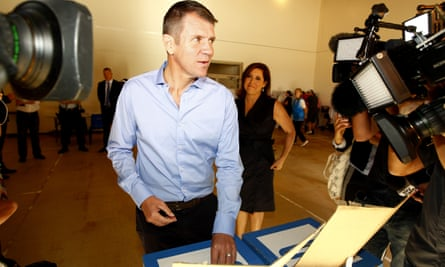 Mike Baird and wife Kerryn cast their vote in the 2015 state election.