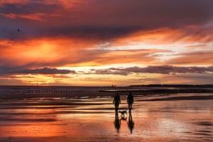 Dog walkers on a beach in Blyth, England