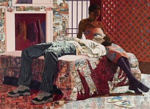 Njideka Akunyili Crosby - Nwantinti, 2012, showing as part of Black Refractions: Highlights From the Studio Museum in Harlem