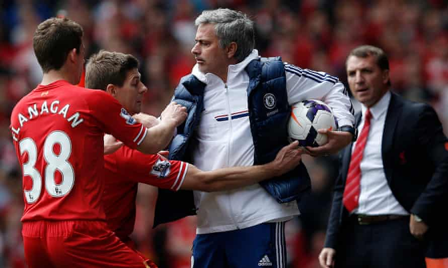 José Mourinho keeps the ball despite the efforts of Steven Gerrard