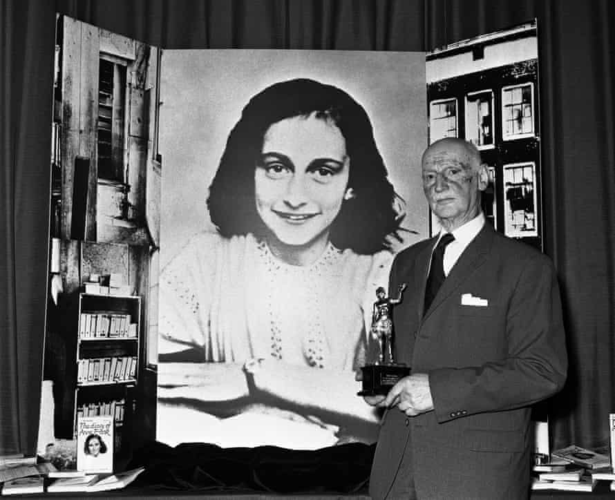 Otto Frank, father of Anne, pictured in 1971 receiving the Golden Pan award for the sale of one million copies of her Diary of a Young Girl.
