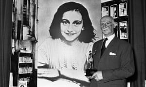 Otto Frank holds the Golden Pan award, given in 1971 after sales of Frank's diary topped 1m copies