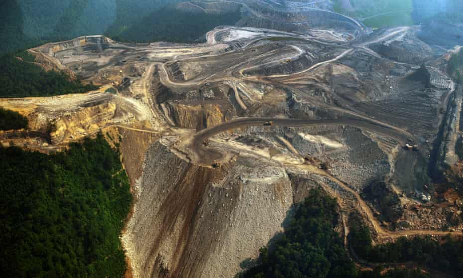 Mountaintop-removal coal mining in West Virginia.
