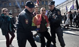 Police detain a gay rights activist during the May Day demonstration in Saint Petersburg, in 2016