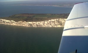 Flying over the Channel coast.