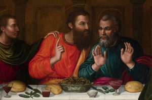 Detail from the Last Supper by Plautilla Nelli, showing apostles, possibly Thomas and Peter.