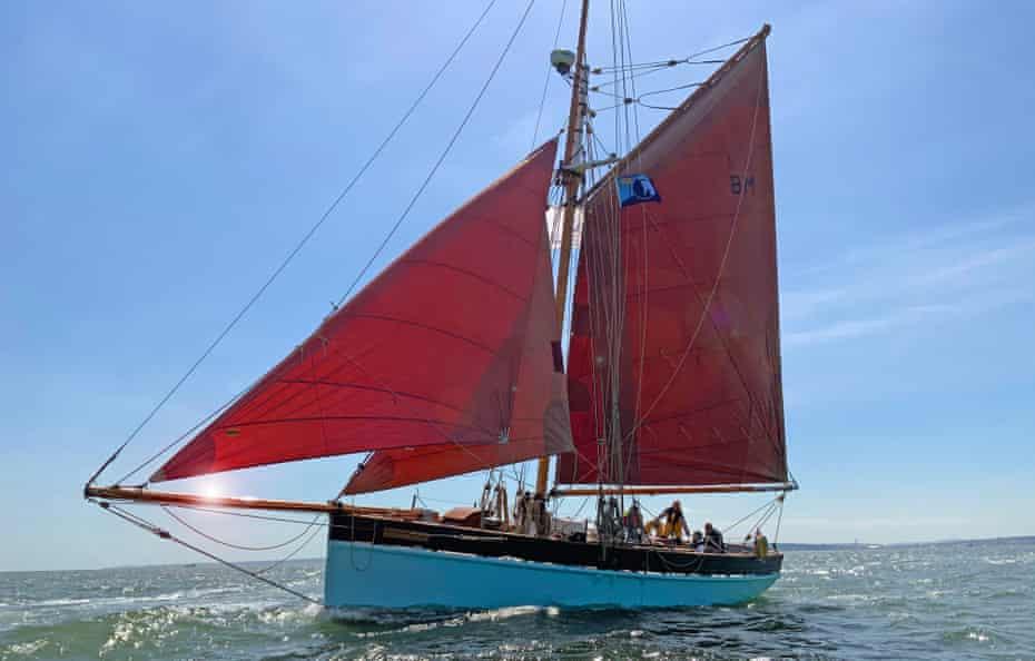 Traditional sailing boat, Golden Vanity, in the Solent, UK.