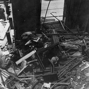 The Park Row entrance to Leeds City Museum following bomb damage in 1941