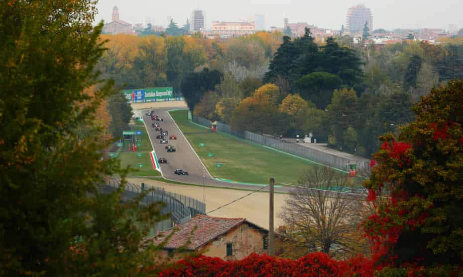 Valtteri Bottas leads on lap one in Emilia Romagna.