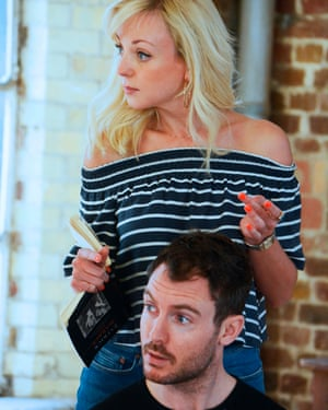 Strindberg in England … Helen George and Richard Flood in rehearsals for Marber's After Miss Julie.
