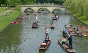 Punting on the River Cam in Cambridge.