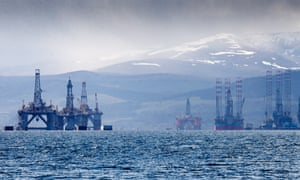 Disused drilling and shallow-water rigs at the Cromarty Firth, Scotland.