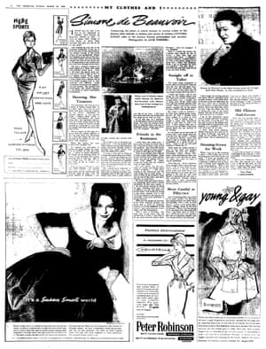 The Observer newspaper dated 20 March 1960 featuring My Clothes and I by Simone de Beauvoir.