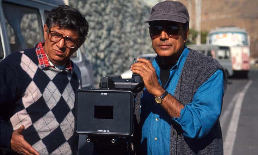 Kiarostami (right) on location with his cameraman Homayoun Payvar, during filming of Taste of Cherry, Tehran, Iran, 1997. The film later won the Palme d'Or at the Cannes film festival.