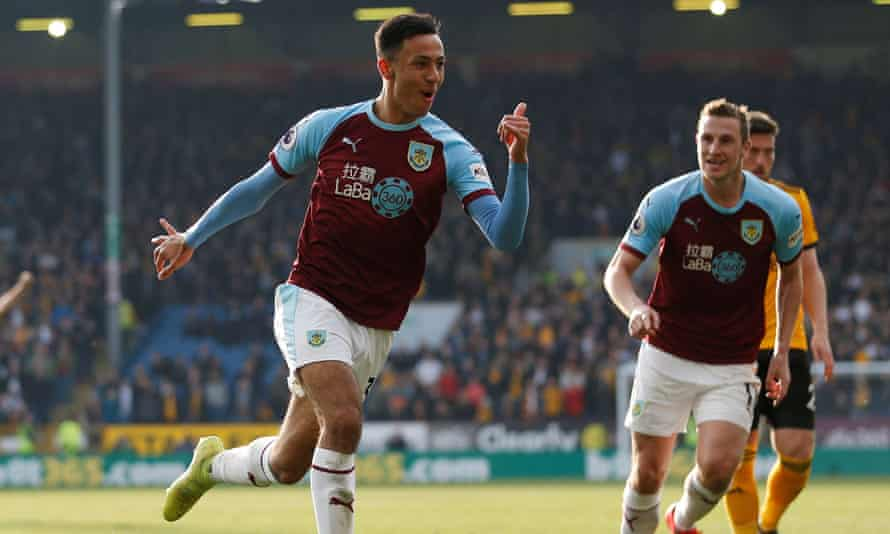 Dwight McNeil celebrates the goal that put Burnley into a 2-0 lead.