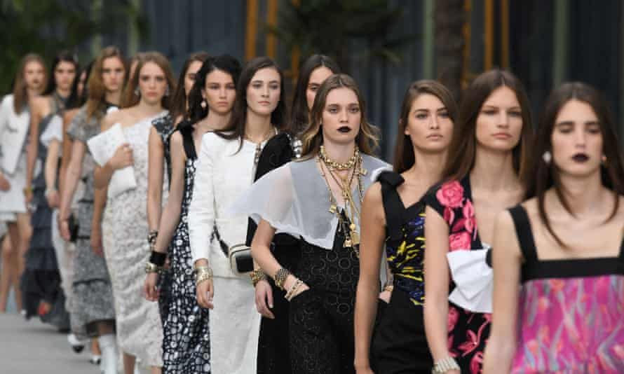 Models on the catwalk for the Chanel Cruise 2020 show in Paris.