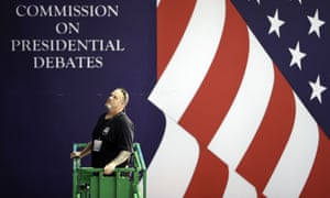 Workers prepare ahead of the second presidential debate