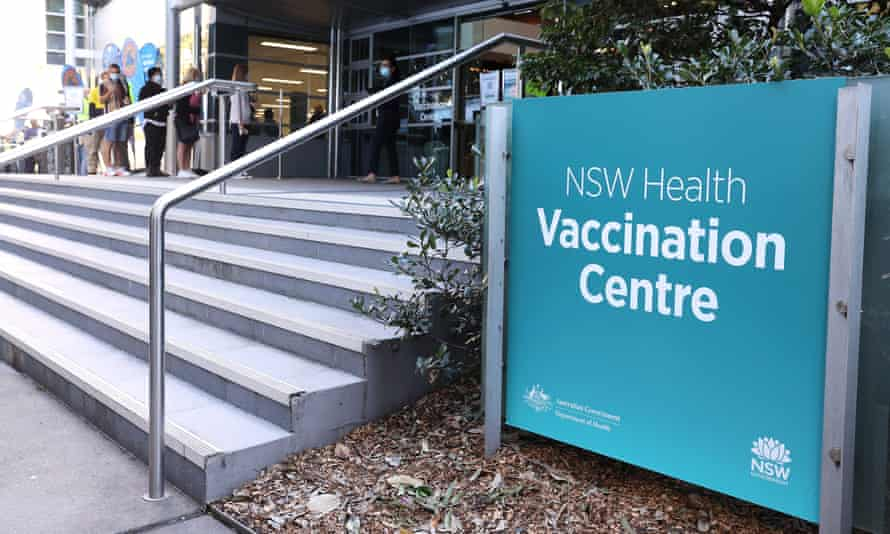 The NSW Health vaccination centre in Sydney Olympic Park, Australia