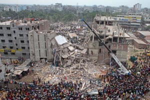 The ruins of the Rana Plaza building in Dhaka, Bangladesh. The building collapsed in 2013 and killed more than 1,100 people.