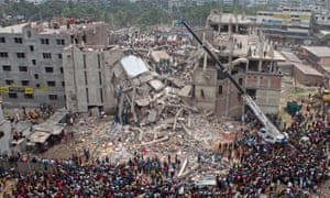 The collapsed Rana Plaza factory complex in Bangladesh.