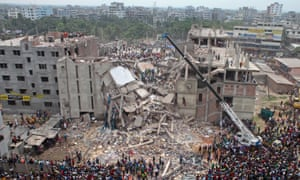 The collapsed Rana Plaza building in Dhaka, Bangladesh