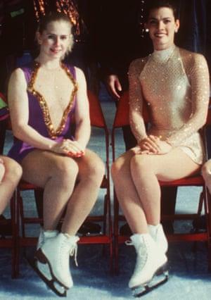 American figure skaters Tonya Harding, left, and Nancy Kerrigan at the 1994 US figure skating championships in Detroit.