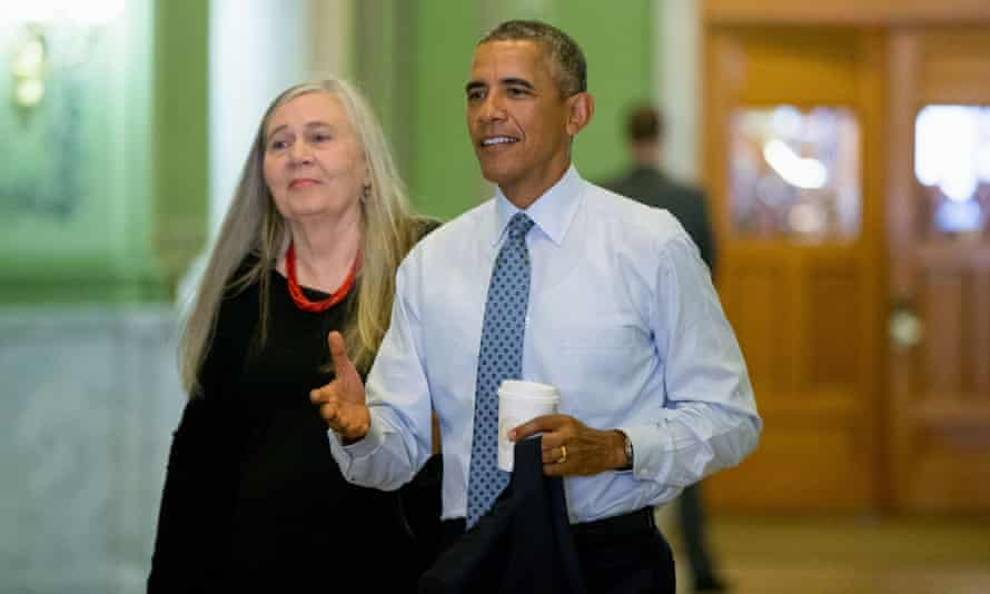 Barack Obama with Marilynne Robinson, who recently interviewed him for the New York Review of Books.