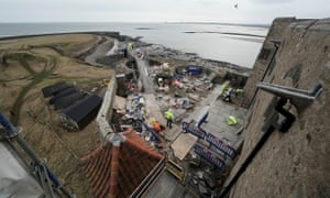 Aerial view of restoration work at Lindisfarne Castle.