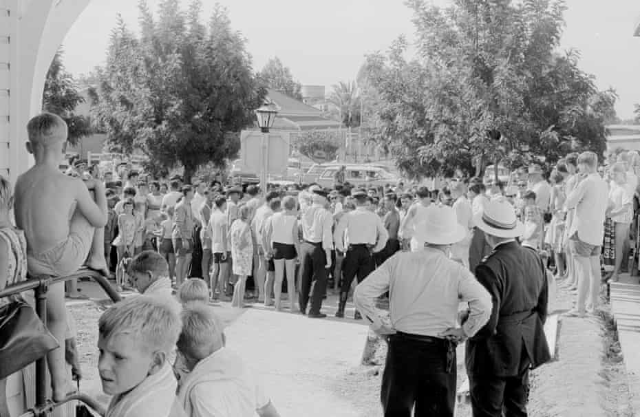 Crowd and police outside Moree pool, 17 February 1965