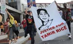 Activists demonstrate in support of Tamir Rice in Cleveland, Ohio.