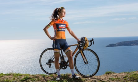Lizzie Deignan (formerly Lizzie Armistead), British world champion track and road cyclist, on a hill overlooking the French Riviera