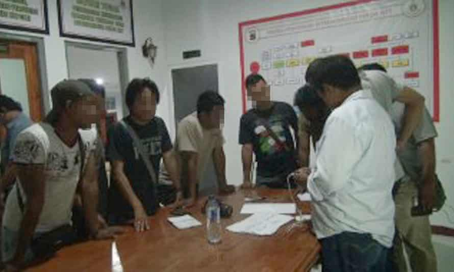 The men who were on a boat turned back from Christmas Island and who later washed up in West Timor at East Nusa Tenggara police headquarters on Thursday.