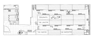 A floorplan of the 'coffin' home.