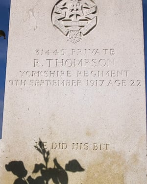 The grave of P. Thompson: 'He did his bit'.