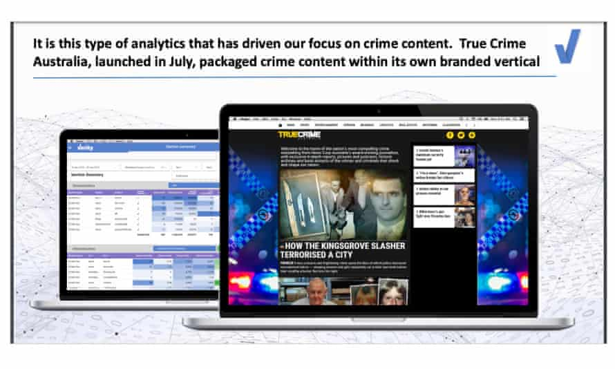 Part of a News Corp presentation to advertisers showing that Verity led to the company's focus on true crime content