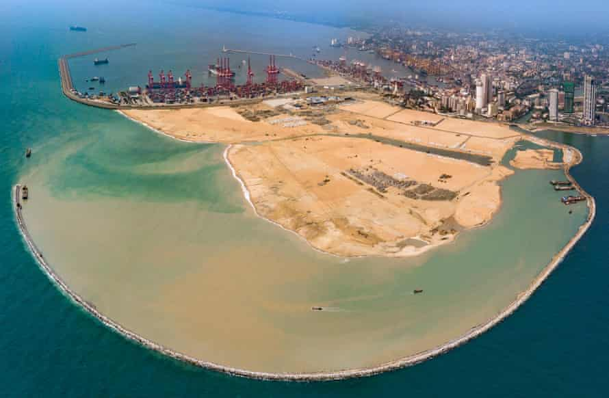 Port City is being constructed on land reclaimed from the Indian Ocean. The new city will nearly double the current size of Colombo.
